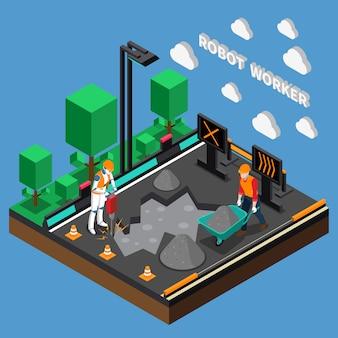 Concepto de diseño 3d de las profesiones del trabajador del robot