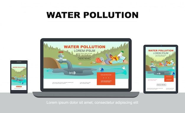 Concepto de diseño adaptativo de contaminación de agua plana con desechos industriales en estanque y basura en la costa en pantallas de tabletas móviles portátiles aisladas