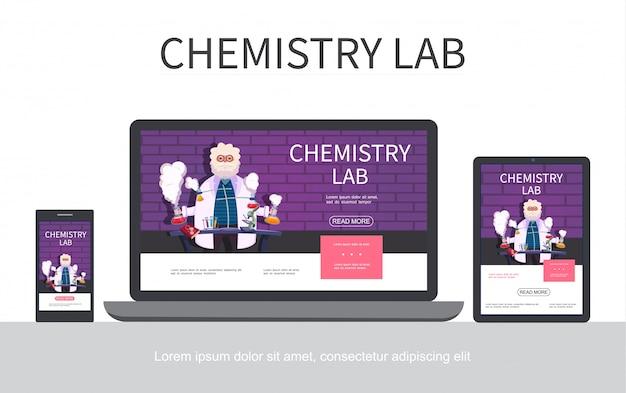 Concepto de diseño adaptativo de laboratorio de química plana con científico haciendo experimentos químicos en pantallas de portátiles de teléfonos de tableta