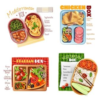 Concepto de diseño de almuerzo en caja