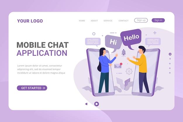 Concepto de diseño de aplicación de chat móvil de plantilla de página de destino
