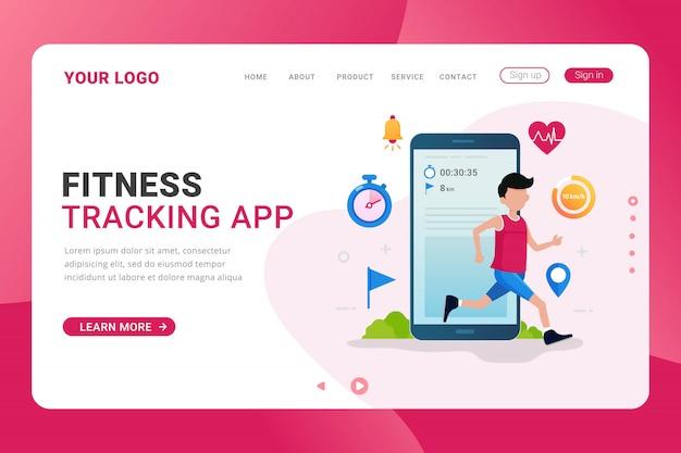 Concepto de diseño de aplicación de seguimiento de fitness de plantilla de página de destino