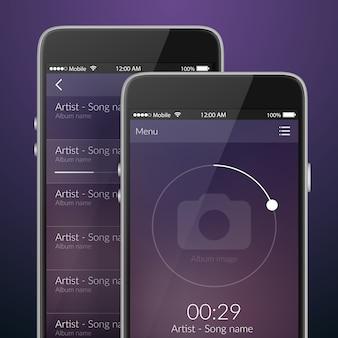 Concepto de diseño de aplicaciones de música móvil en colores oscuros ilustración vectorial plana