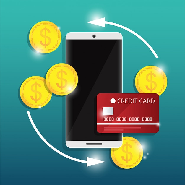Concepto de diseño de banca móvil en línea de la sociedad sin efectivo con transacción de seguridad mediante tarjeta de crédito.