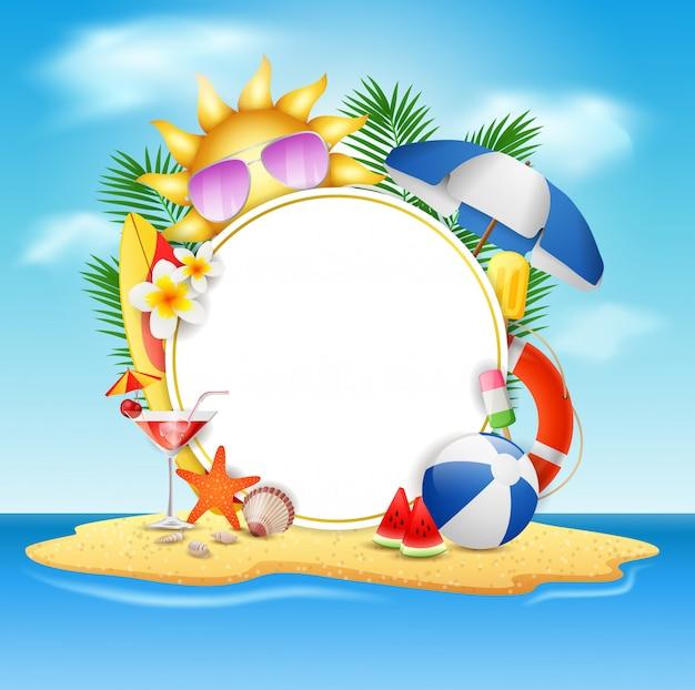 Concepto de diseño de la bandera del vector del verano en la isla de la playa con el fondo del cielo azul de la belleza. ilustración vectorial