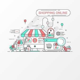 Concepto de diseño de banner en línea de compras