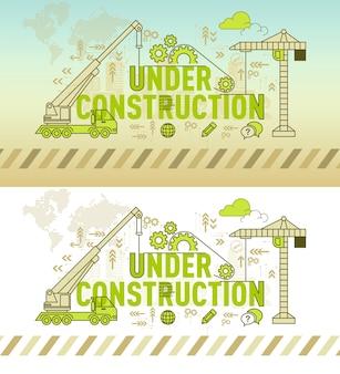 En concepto de diseño de banner de sitio web de construcción