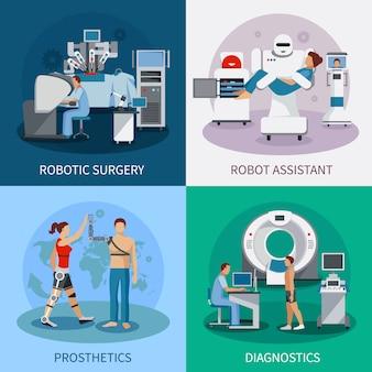 Concepto de diseño biónico 2x2 con equipo de diagnóstico de cirugía robótica prótesis ortopédicas composit