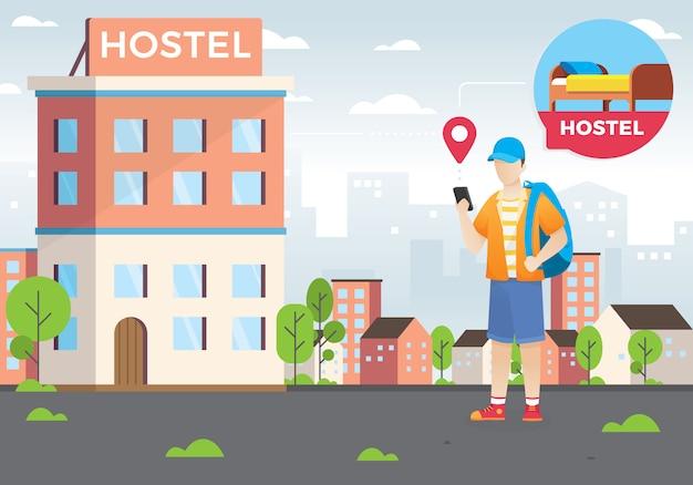 Concepto de diseño de búsqueda de hoteles y reservas en línea.