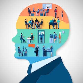 Concepto de diseño de la cabeza de negocios