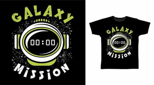 Concepto de diseño de camiseta de astronauta de misión galaxia