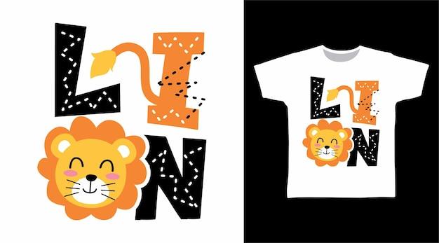 Concepto de diseño de camiseta de tipografía de león lindo