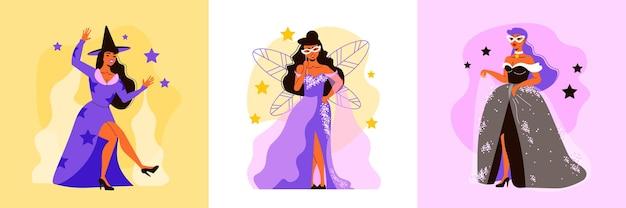 Concepto de diseño de carnaval con tres composiciones cuadradas con personajes femeninos de hadas vestidas con estrellas