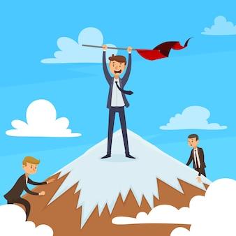 Concepto de diseño de carrera exitoso con ganador en la cima de la montaña y competidores en la ilustración de vector de fondo de cielo azul