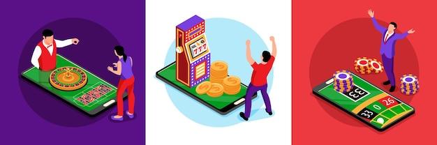 Concepto de diseño de casino en línea isométrico con ilustración cuadrada