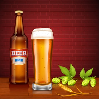 Concepto de diseño de cerveza con botella y vidrio