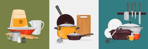 Concepto de diseño de cocina con tres composiciones cuadradas de equipo de cocina para diferentes situaciones de cocina.