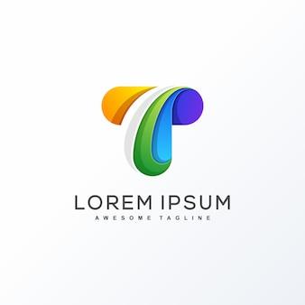 Concepto de diseño colorido letra t