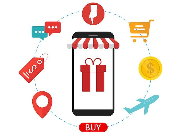 Concepto de diseño de comercio electrónico.