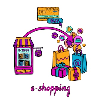 Concepto de diseño de comercio electrónico
