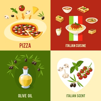 Concepto de diseño de comida italiana