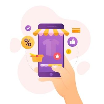 Concepto de diseño de compras en línea en dispositivos móviles