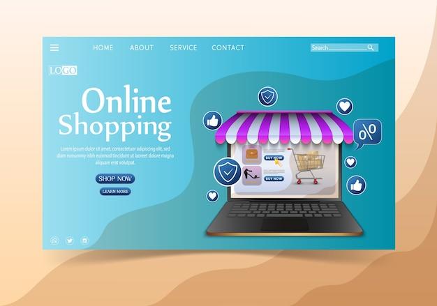 Concepto de diseño de compras en línea con laptop