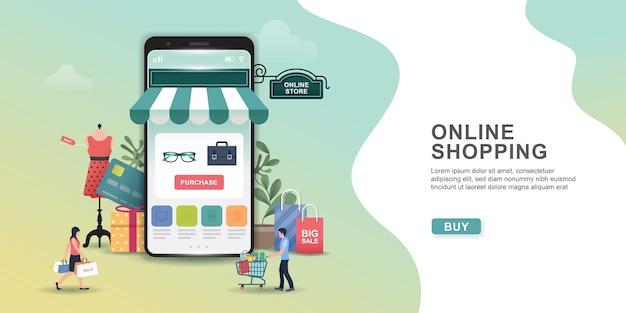 Concepto de diseño de compras en línea con personas y móviles. aplicación de compras en línea: regalos, artículos de compras, tarjetas de crédito.