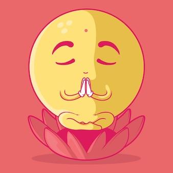 Concepto de diseño de comunicación de ilustración de emoji meditando