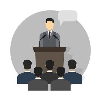 Concepto de diseño de conferencias establecido con iconos planos de capacitación de presentación de clase magistral aislado ilustración vectorial
