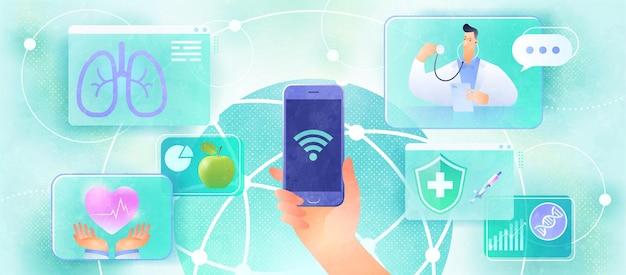 Concepto de diseño de consulta médica en línea mediante videollamadas de teléfonos inteligentes a un médico y conexión de servicios médicos a través de una red global y wifi