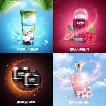 Concepto de diseño de cosméticos 2x2 con crema de coco, flores de rosa, máscara de carbón y nuevos iconos cuadrados de fragancia decorados con efecto mágico de brillos voladores realistas