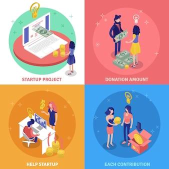 Concepto de diseño de crowdfunding