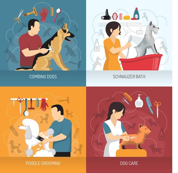 Concepto de diseño de cuidado de perros