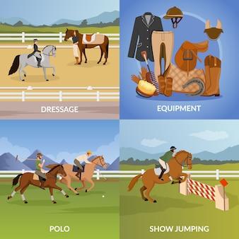 Concepto de diseño de deporte ecuestre