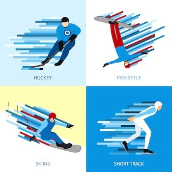 Concepto de diseño de deportista de invierno