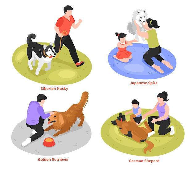 Concepto de diseño de dueño de perro isométrico con ilustración de diferentes razas de perros