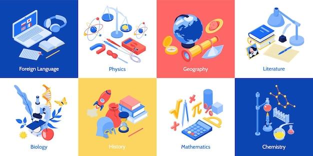 Concepto de diseño de educación escolar isométrica con un conjunto de composiciones cuadradas