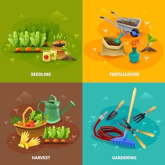 Concepto de diseño de elementos de jardinería