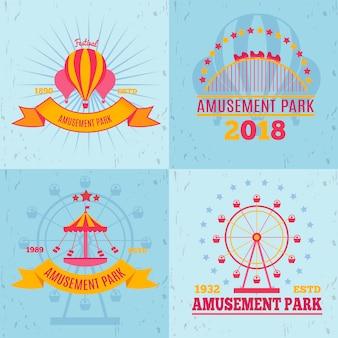 Concepto de diseño de emblemas de parque de atracciones con composiciones de logotipos planos, formas de imágenes de atracción y texto decorativo