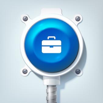 Concepto de diseño empresarial con icono de maletín y botón redondo azul en poste metálico aislado