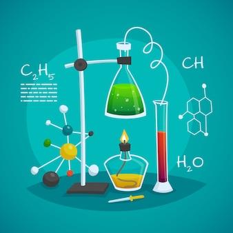 Concepto de diseño de espacio de trabajo de laboratorio químico