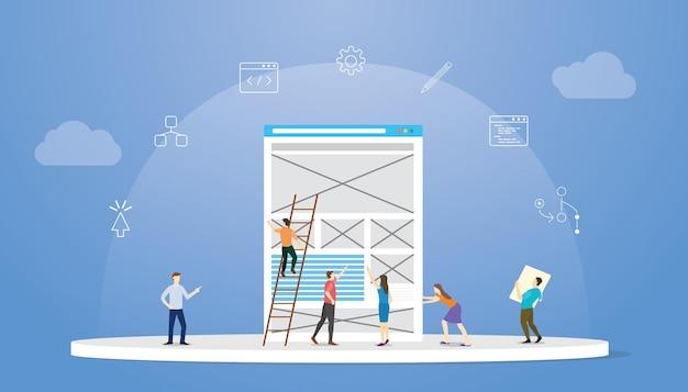 Concepto de diseño de experiencia de usuario ux con ilustración de vector de estilo plano moderno