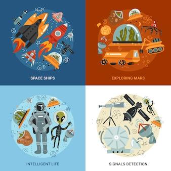 Concepto de diseño de exploración espacial 2x2