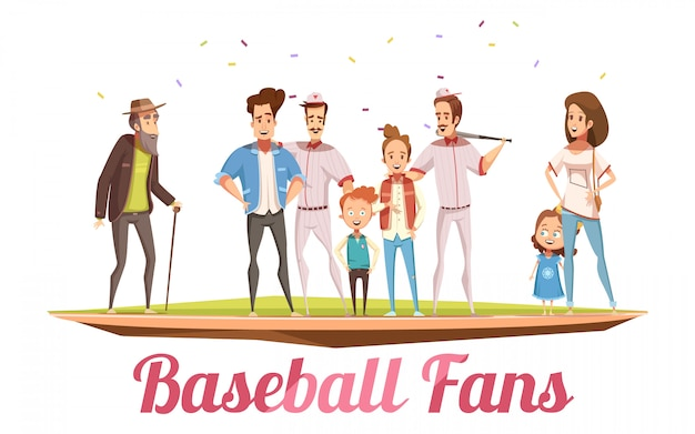 Concepto de diseño de los fanáticos del béisbol con tres generaciones de familia grande de pie en la ilustración de vector de dibujos animados plano campo de béisbol