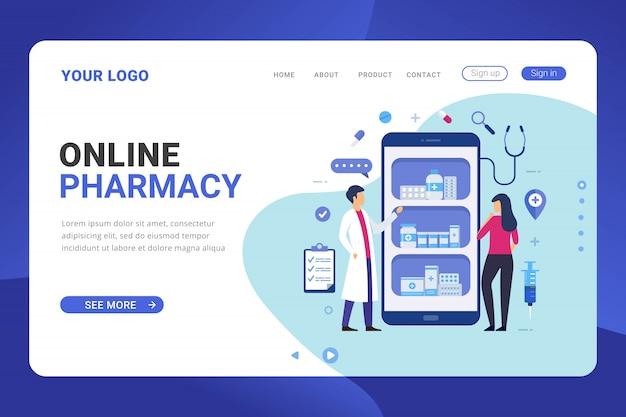Concepto de diseño de farmacia en línea de plantilla de página de destino