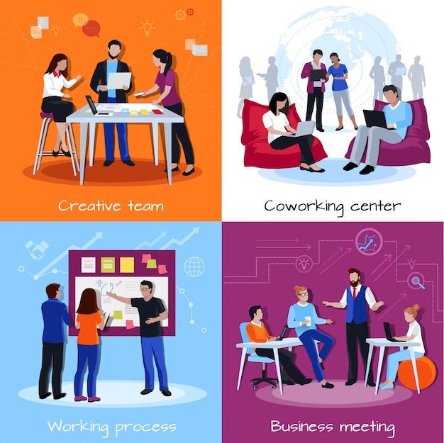 Concepto de diseño de la gente de coworking
