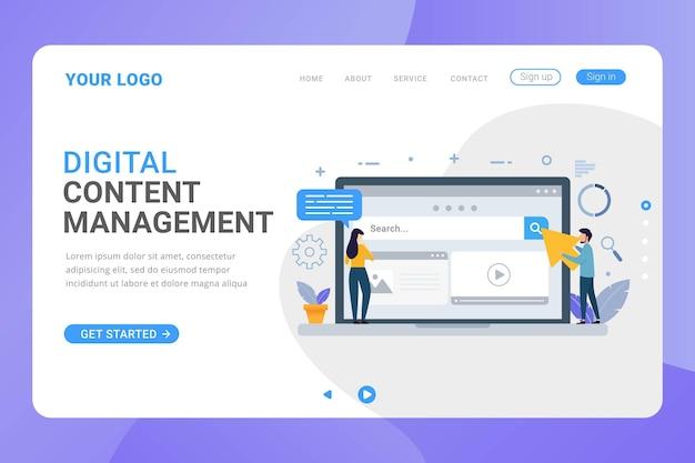 Concepto de diseño de gestión de contenido digital de plantilla de página de destino