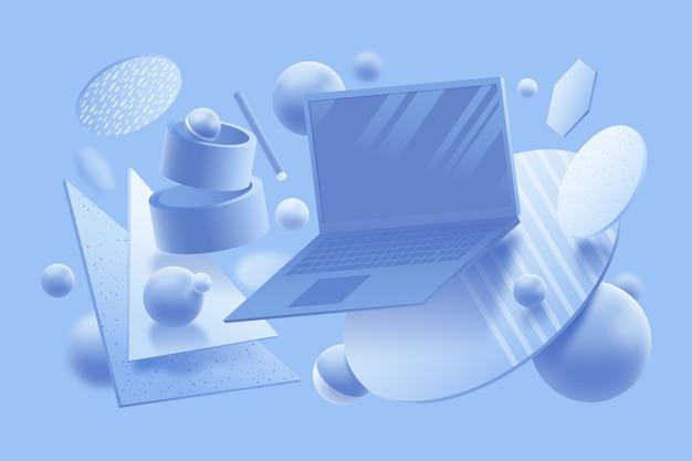 Concepto de diseño gráfico en 3d en colores pastel