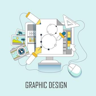 Concepto de diseño gráfico: computadora y elementos de diseño en estilo de línea